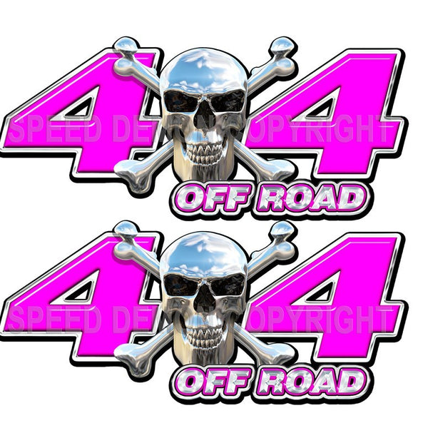 Chrome Skull 4x4 Offroad Decals Pink - Speed Demon Wraps