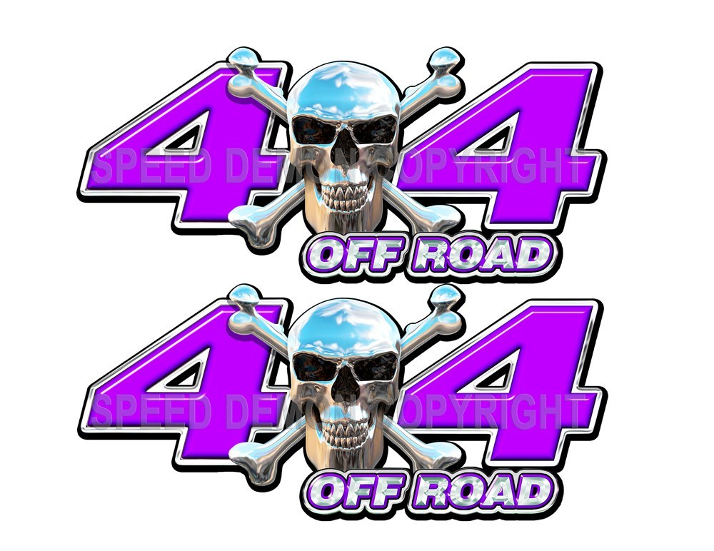 Chrome Skull 4x4 Off Road Decals Purple - Speed Demon Wraps