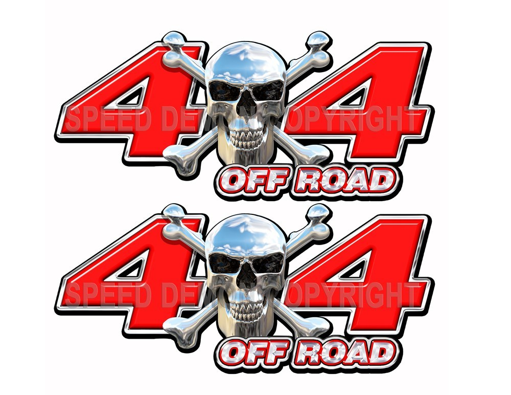 Chrome Skull 4x4 Off Road Decals Red - Speed Demon Wraps