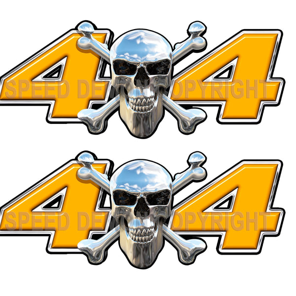 Chrome Skull 4x4 Decals Orange - Speed Demon Wraps