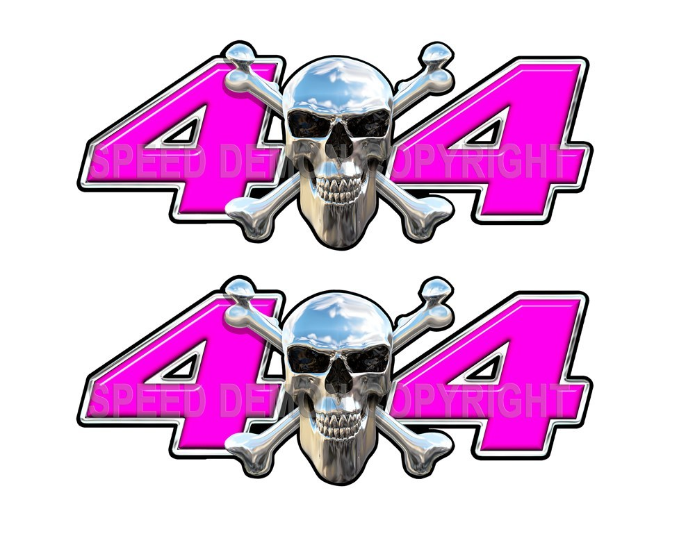 Chrome Skull 4x4 Decals Pink - Speed Demon Wraps