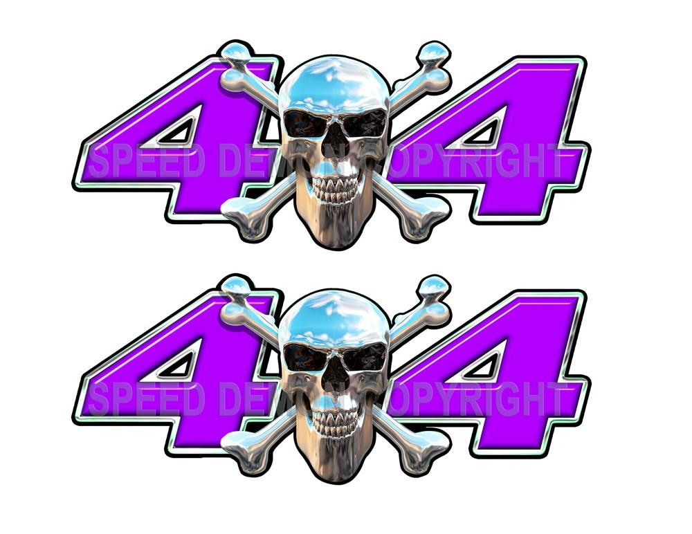 Chrome Skull 4x4 Decals Purple - Speed Demon Wraps
