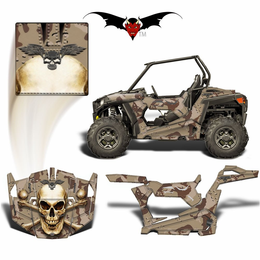 RZR 900 S GRAPHICS WRAP -  BONE COLLECTOR SKULL ON CUSTOM CAMOUFLAGE - Speed Demon Wraps