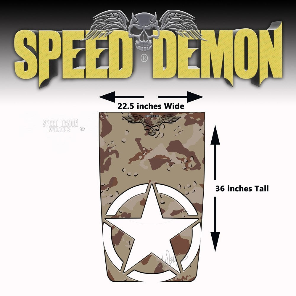 Jeep Wrangler Hood Desert Camo Military Star Hood Graphics Die Cut - Speed Demon Wraps