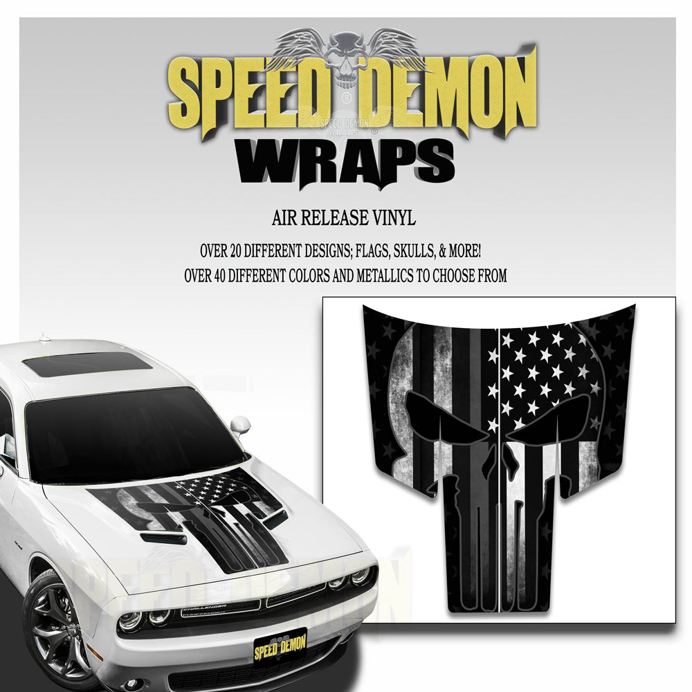 Dodge Challenger Punisher Grey American Flag T Stripes 2015-2018