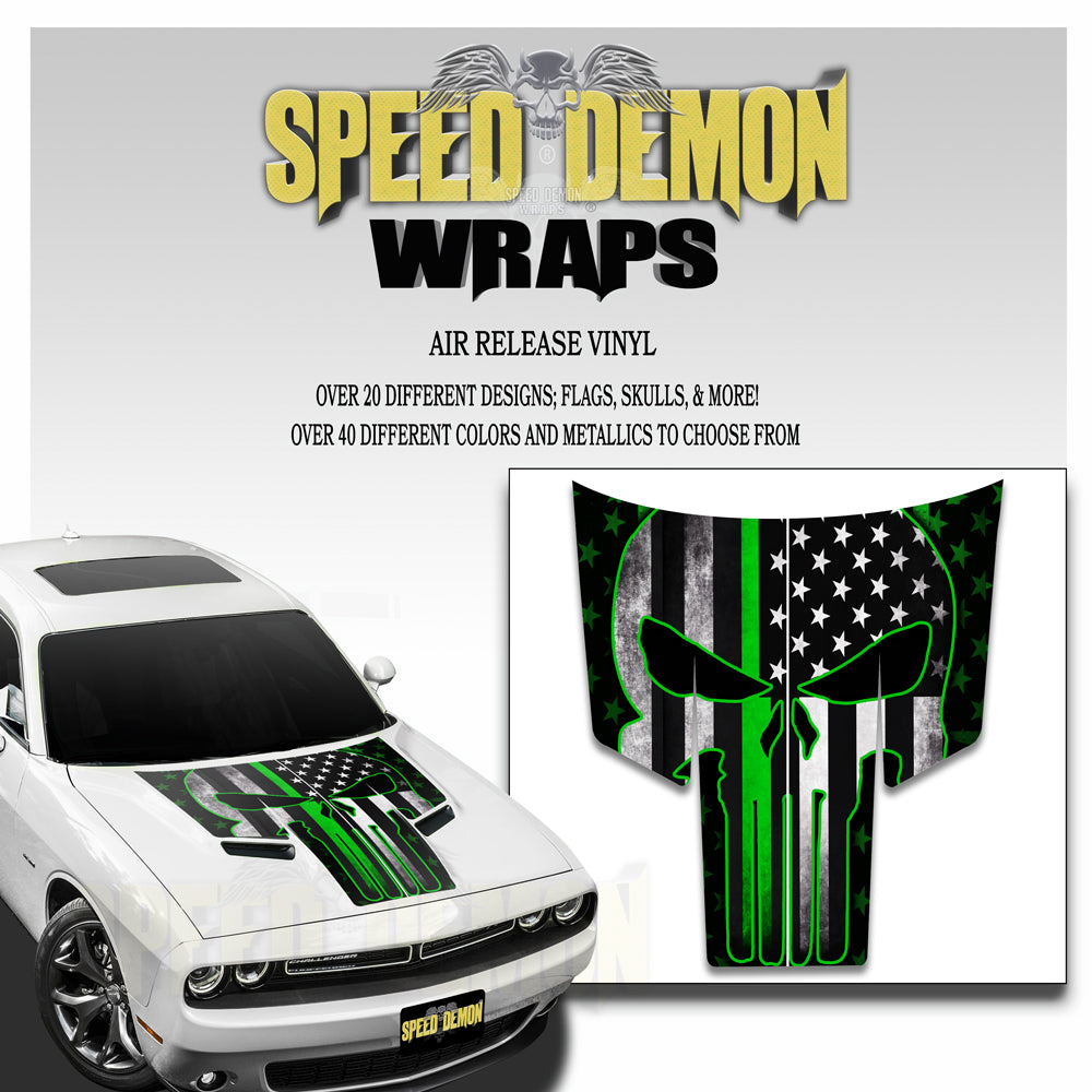 Dodge Challenger Thin Green Line Punisher Stripes