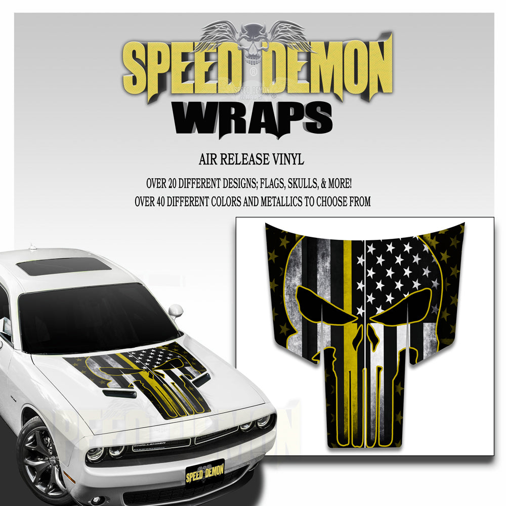 Dodge Challenger Thin Yellow Line Punisher American Flag T Stripes 2015-2018