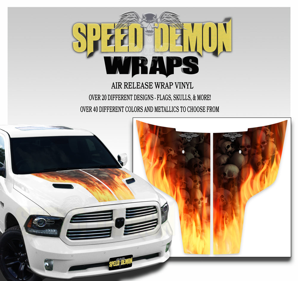 Dodge Ram Hood Stripes Burning Skulls 2009-2017