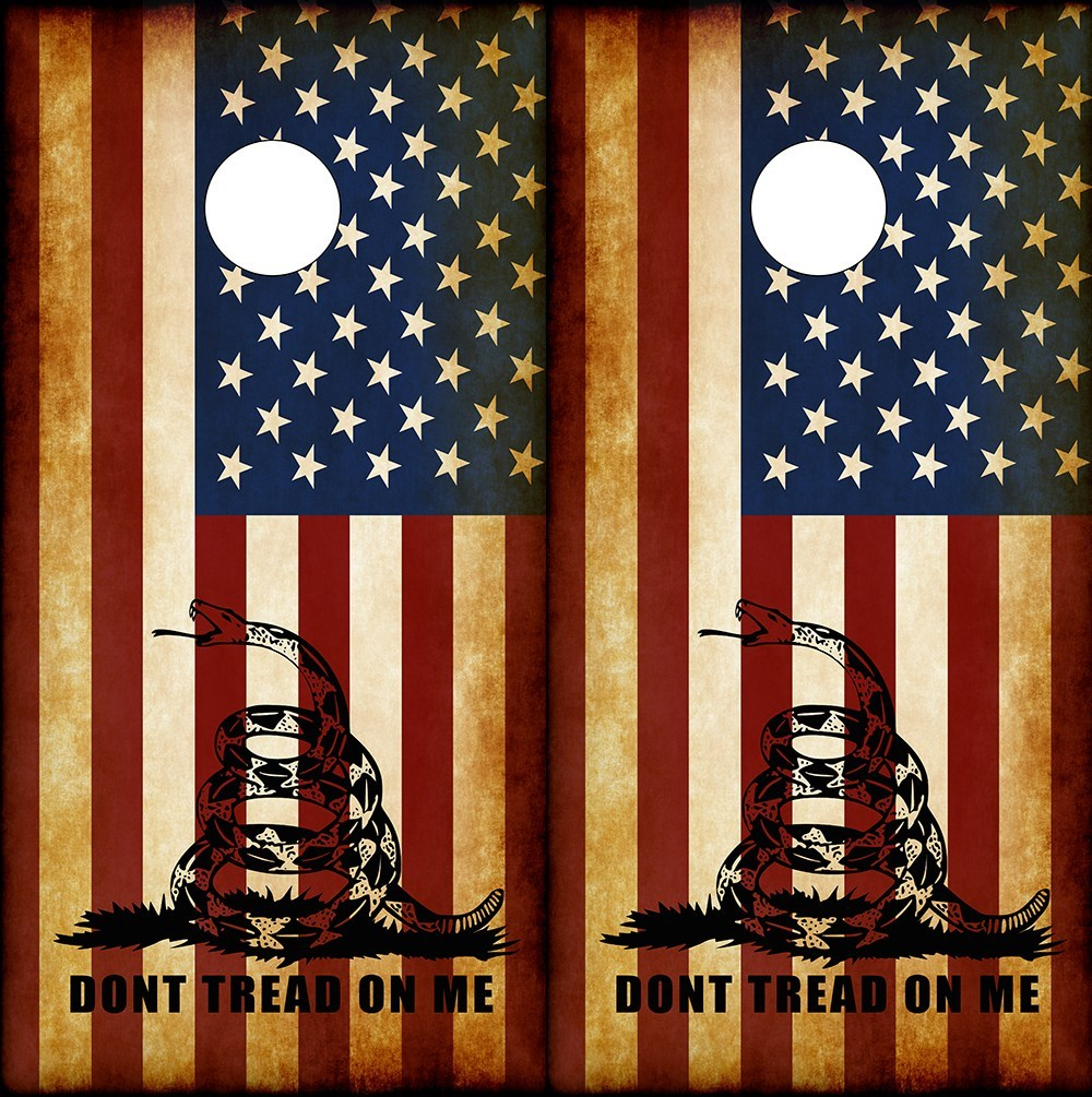 Don't Tread On Me American Flag Corn Hole Board Wraps - Speed Demon Wraps