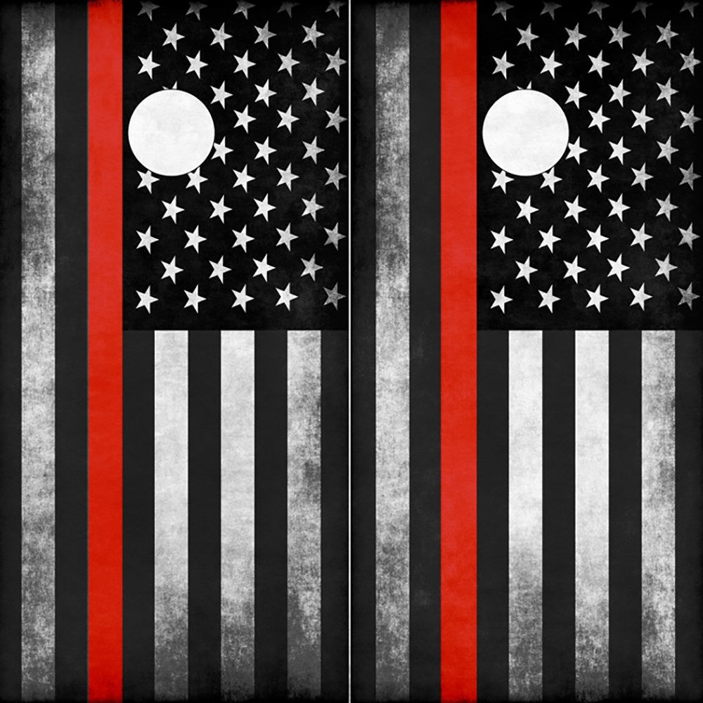 Firefighter Thin Red Line American Flag Cornhole Board Wrap Wraps - Speed Demon Wraps