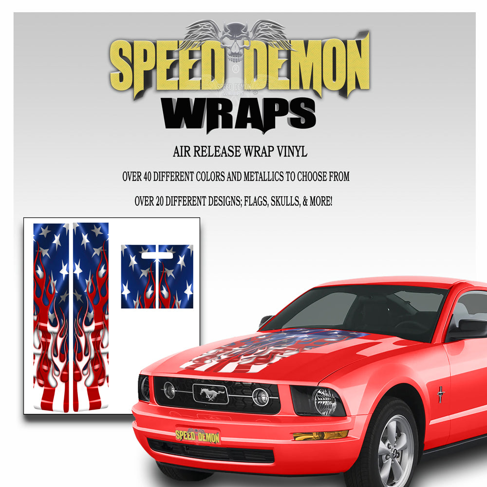 2009 Ford Mustang Racing Stripe Kit Flaming American Flag