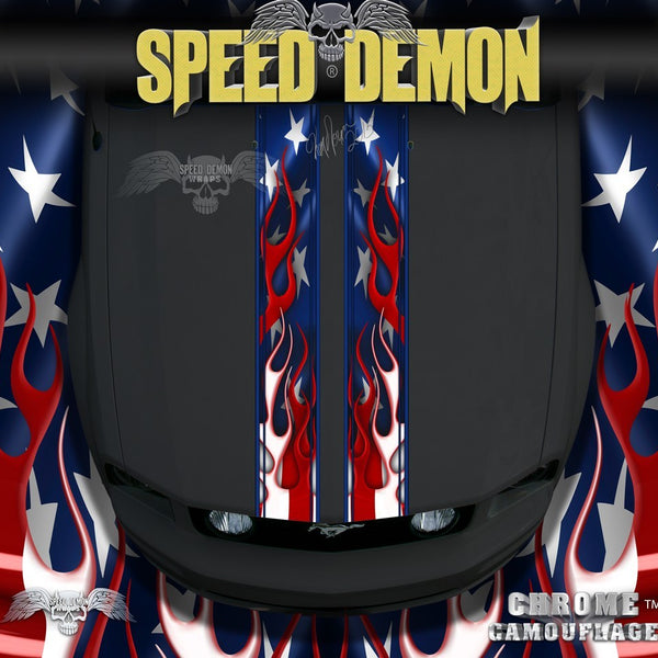 Flaming American Flag Rally Stipes - Speed Demon Wraps