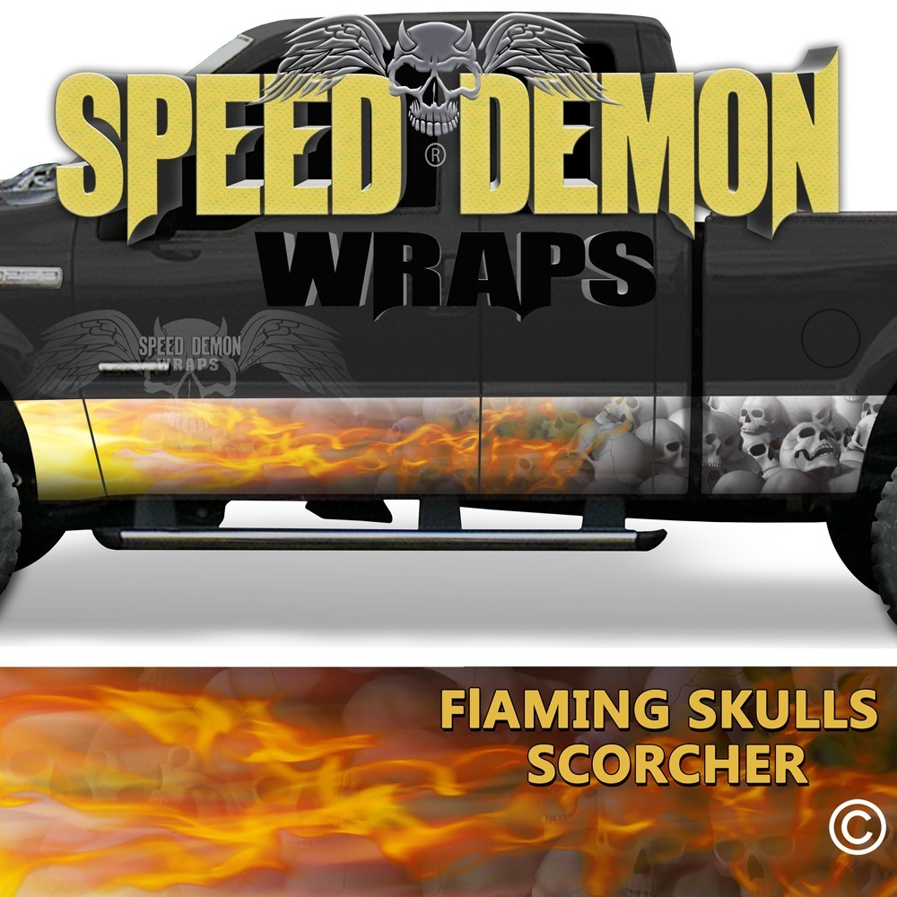 Flaming Grey Skulls Rocker Wrap Scorcher - Speed Demon Wraps