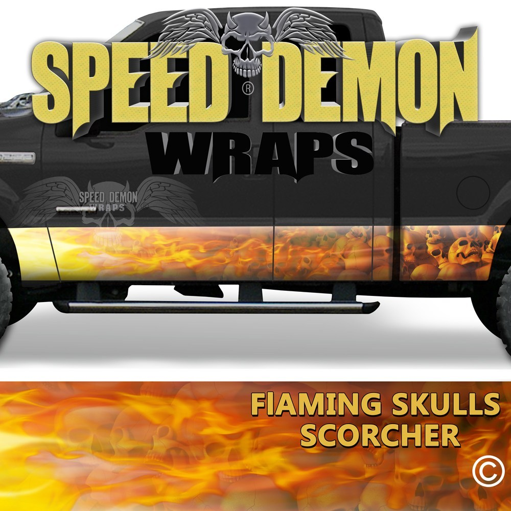 Flaming Red Skulls Rocker Wrap Scorcher - Speed Demon Wraps
