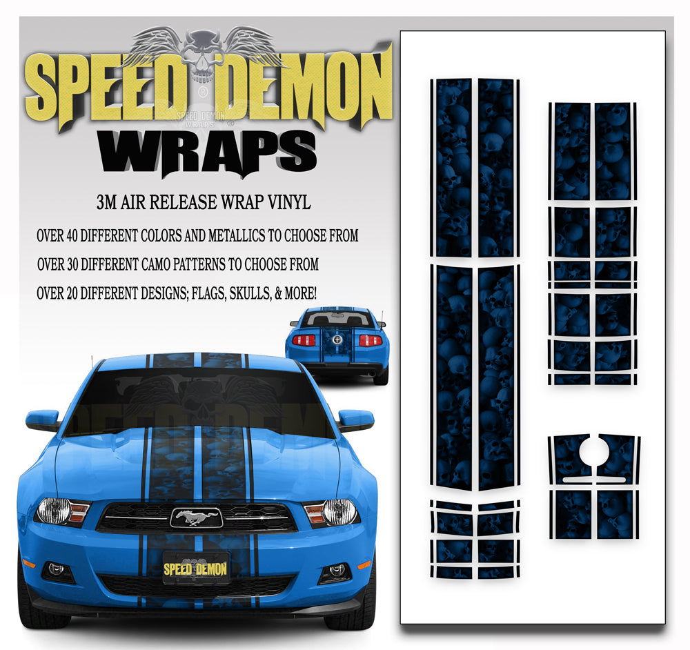 Ford Mustang Eleanor Racing Stripe Kit Skulls Ghosted Blue 2010-2012
