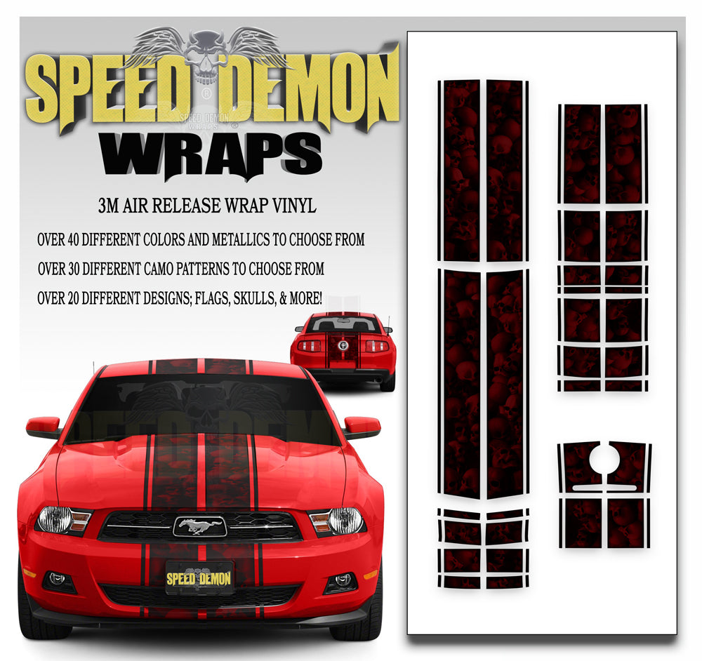 Ford Mustang Eleanor Racing Stripe Kit Skulls Ghosted Red