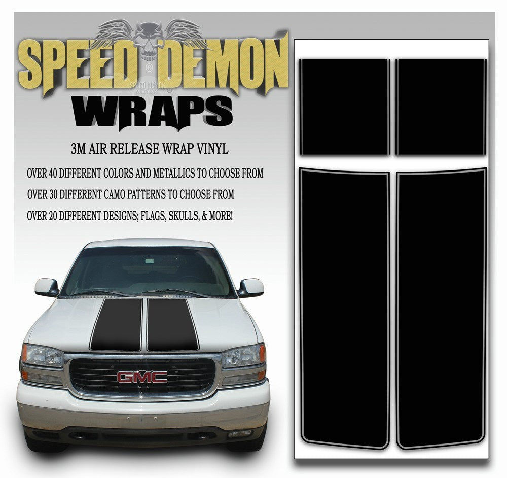 GMC Sierra Truck Racing Stripe Kit - Black 2000-2006 - Speed Demon Wraps