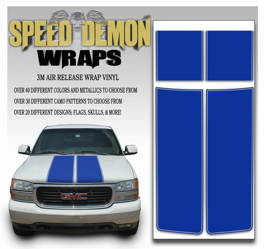 GMC Sierra Truck Racing Stripe Kit - Blue 2000-2006 - Speed Demon Wraps