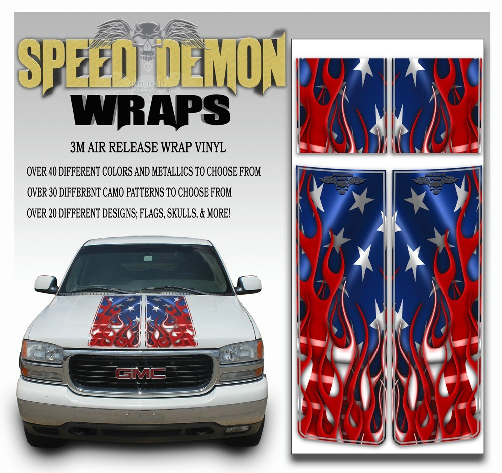 GMC Sierra Truck Racing Stripe Kit Flaming American Flag 2000-2006 - Speed Demon Wraps