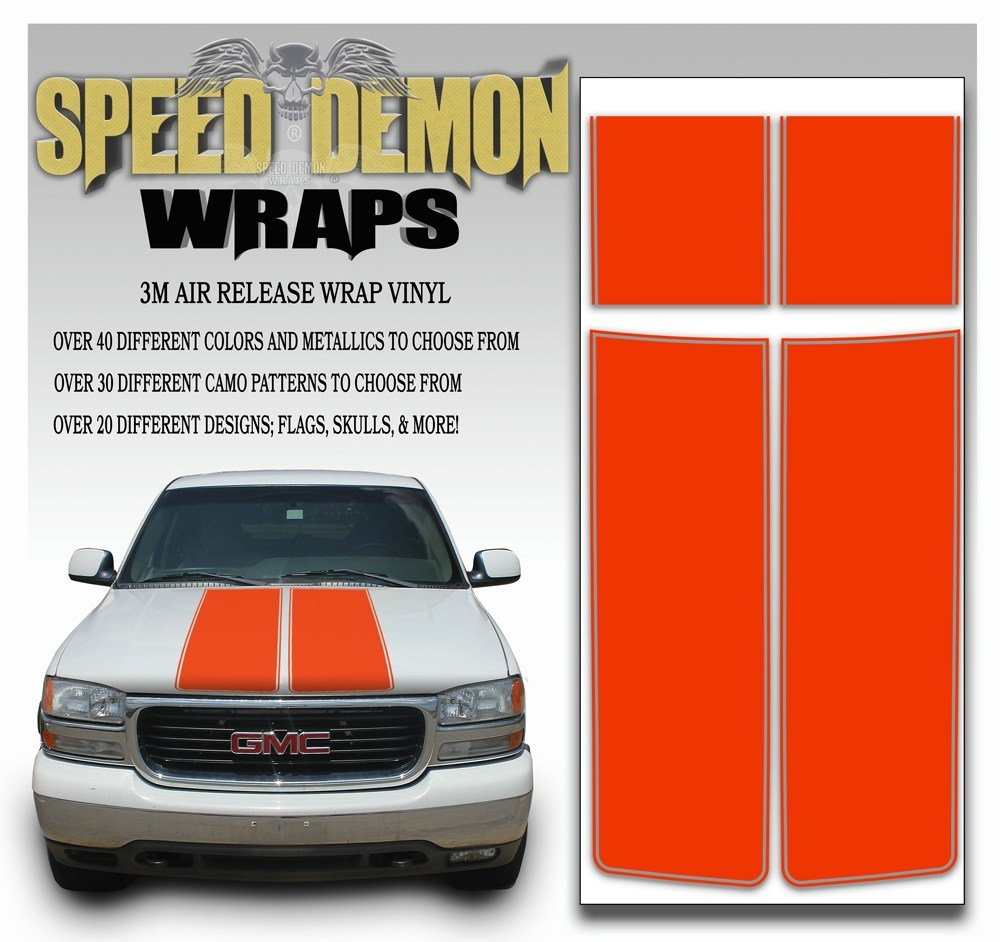 GMC Sierra Truck Racing Stripe Kit - Orange 2000-2006 - Speed Demon Wraps