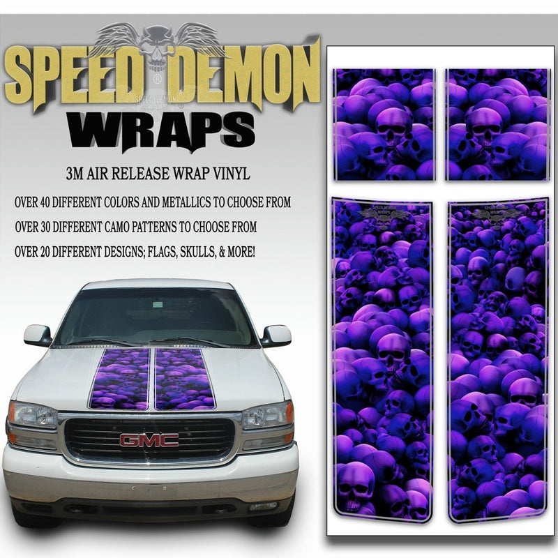 GMC Sierra Truck Racing Stripes Skulls - Purple 2000-2006 - Speed Demon Wraps