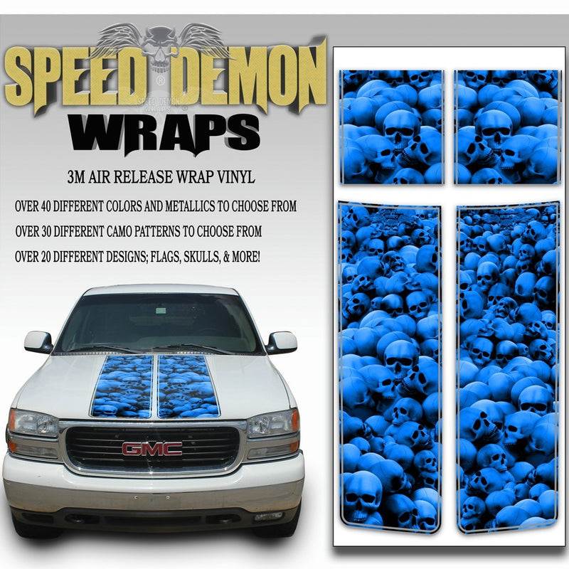 GMC Sierra Truck Racing Stripes Skulls - Blue 2000-2006 - Speed Demon Wraps