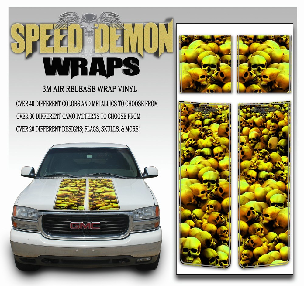 GMC Sierra Truck Racing Stripes Skulls - Gold 2000-2006 - Speed Demon Wraps