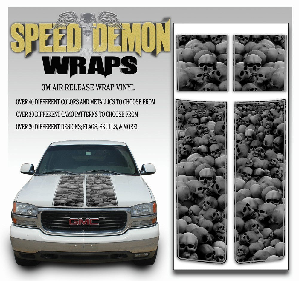 GMC Sierra Truck Racing Stripes Skulls - Grey 2000-2006 - Speed Demon Wraps