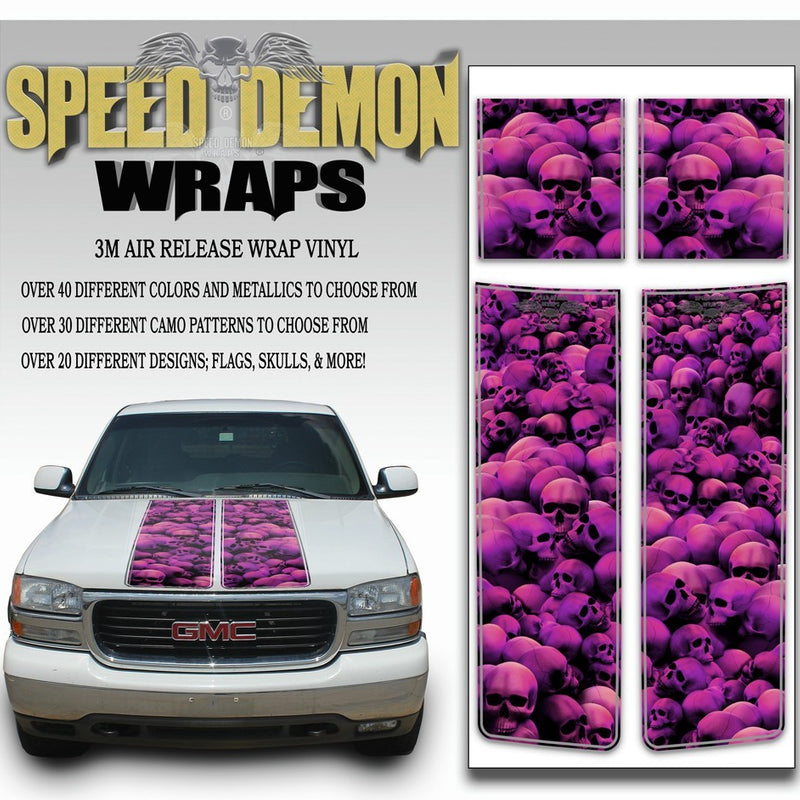 GMC Sierra Truck Racing Stripes Skulls - Pink 2000-2006 - Speed Demon Wraps