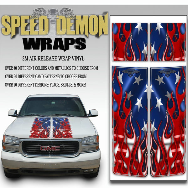 GMC Yukon Racing Stripe Kit Flaming American Flag 1999-2006 - Speed Demon Wraps