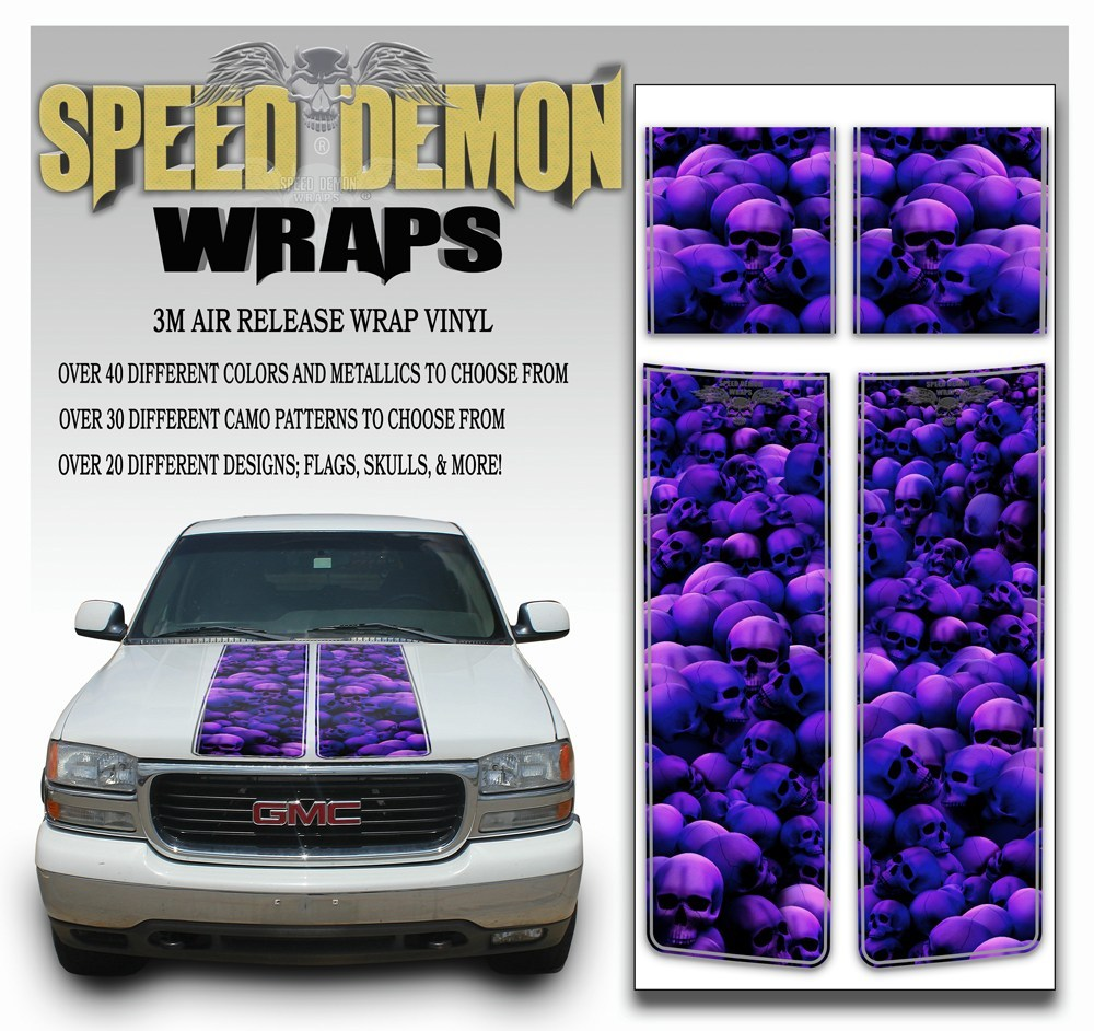 GMC Yukon Stripes Skulls Purple 2000-2006 - Speed Demon Wraps