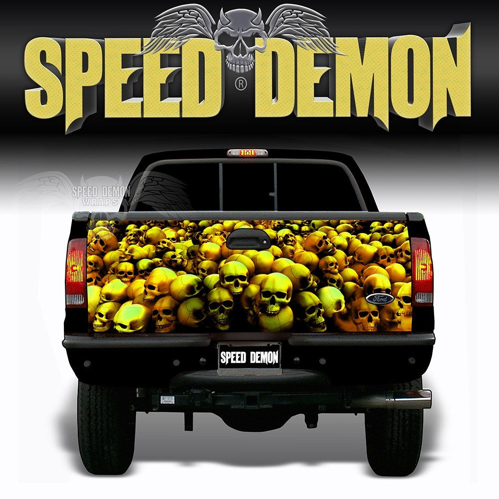 Skull Crusher Tailgate Wraps Gold