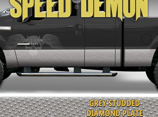 Studed Diamond Plate Rocker Panel Wraps