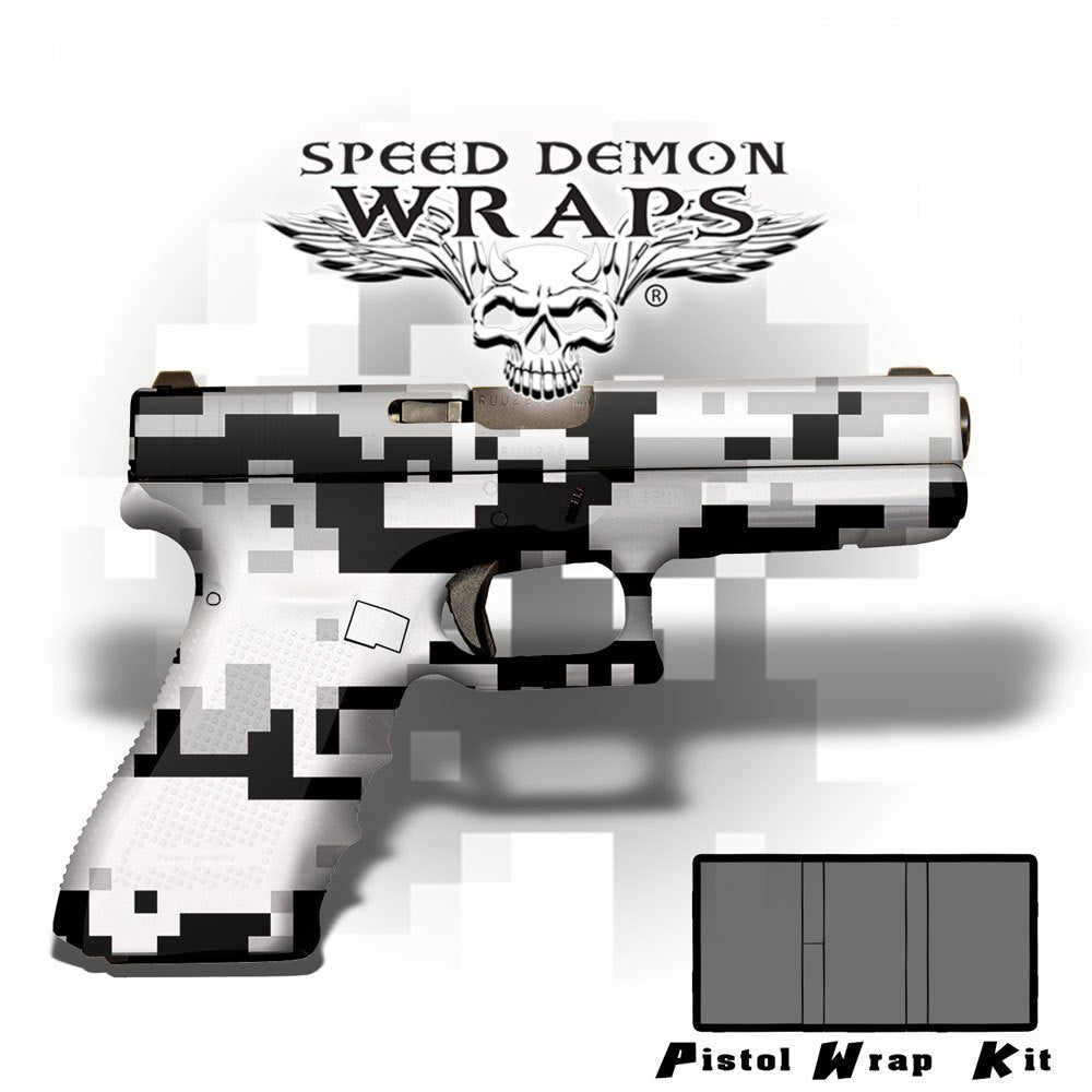Gun Wraps - Universal Skins ~ White Digital Camouflage - Speed Demon Wraps