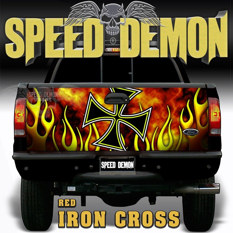 Iron Cross Red Tailgate Wraps