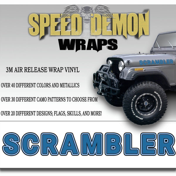Jeep Scrambler Hood Decals Blue CJ 8 - Speed Demon Wraps