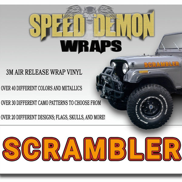 Jeep Scrambler Hood Decals Orange CJ 8 - Speed Demon Wraps