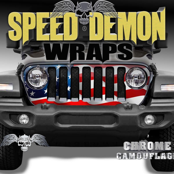 Jeep Grill Wraps Wavy American Flag JL 2018-2019 - Speed Demon Wraps
