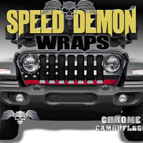 Jeep Grill Wraps Subdued American Flag Red Line 2018 2019 JL - Speed Demon Wraps