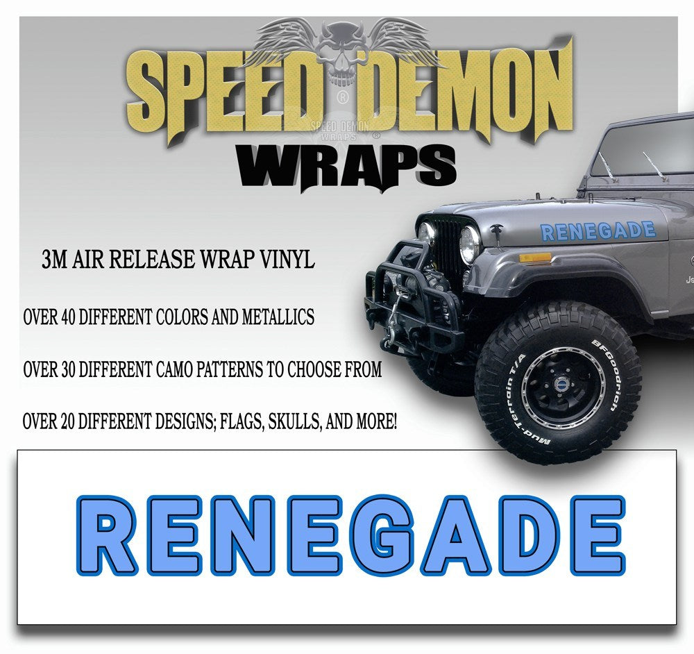Jeep Renegade Hood Decals Light Blue 3 color - Speed Demon Wraps