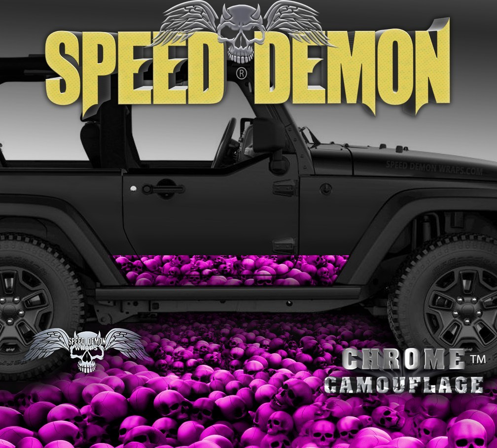2007-2017 2 Door Jeep Wrangler Rocker Wrap SKULL CRUSHER Pink - Speed Demon Wraps