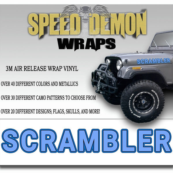 Jeep Scrambler Hood Decals Light Blue CJ 8 - Speed Demon Wraps