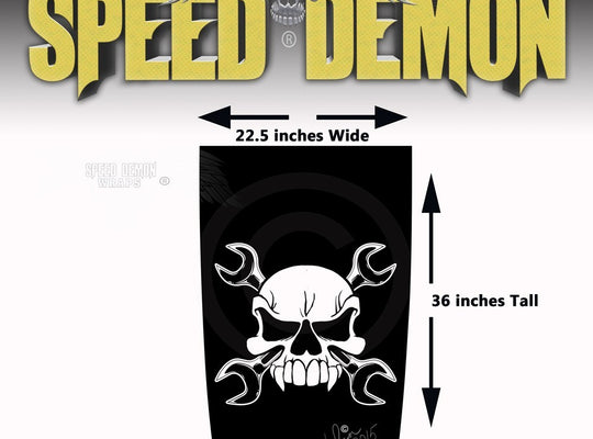 Jeep Wrangler Hood Skull & Wrenches Hood Black Out Decal - Speed Demon Wraps