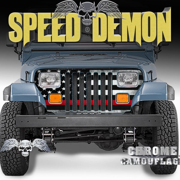 1987-1995 Jeep Grill Wraps American Flag Subdued Red Line Wrangler - Speed Demon Wraps