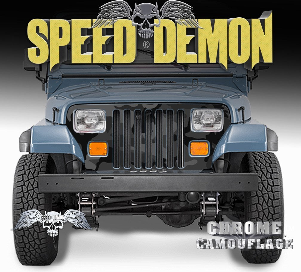 1987-1995 Jeep Grill Wraps Camo Black Urban Camouflage Wrangler - Speed Demon Wraps