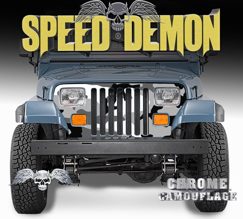 1987-1995 Jeep Grill Wraps Camo Snow Urban Camouflage Wrangler - Speed Demon Wraps