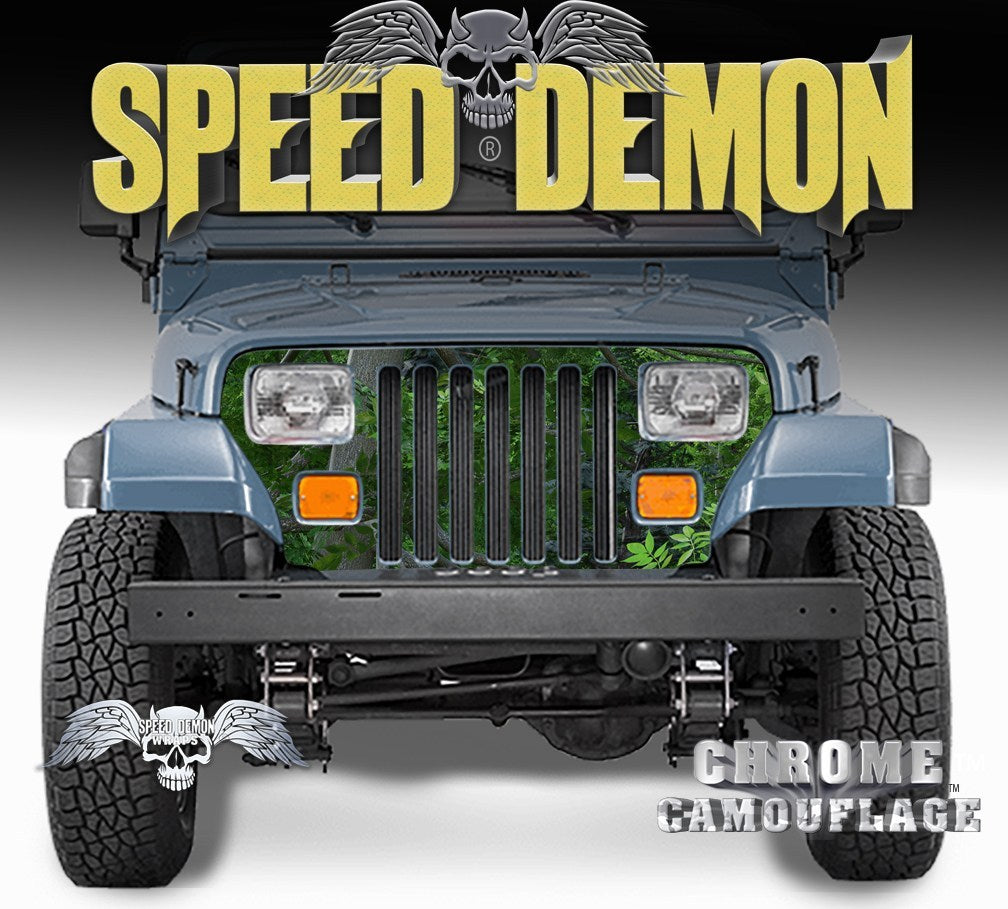 1987-1995 Jeep Grill Wraps Camo True Forest Camouflage Wrangler - Speed Demon Wraps