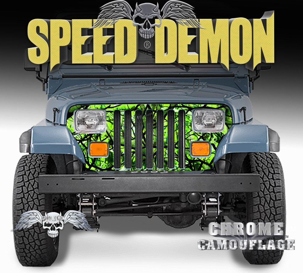 1987-1995 Jeep Grill Wraps Camo Zombie Bile Camouflage Wrangler - Speed Demon Wraps