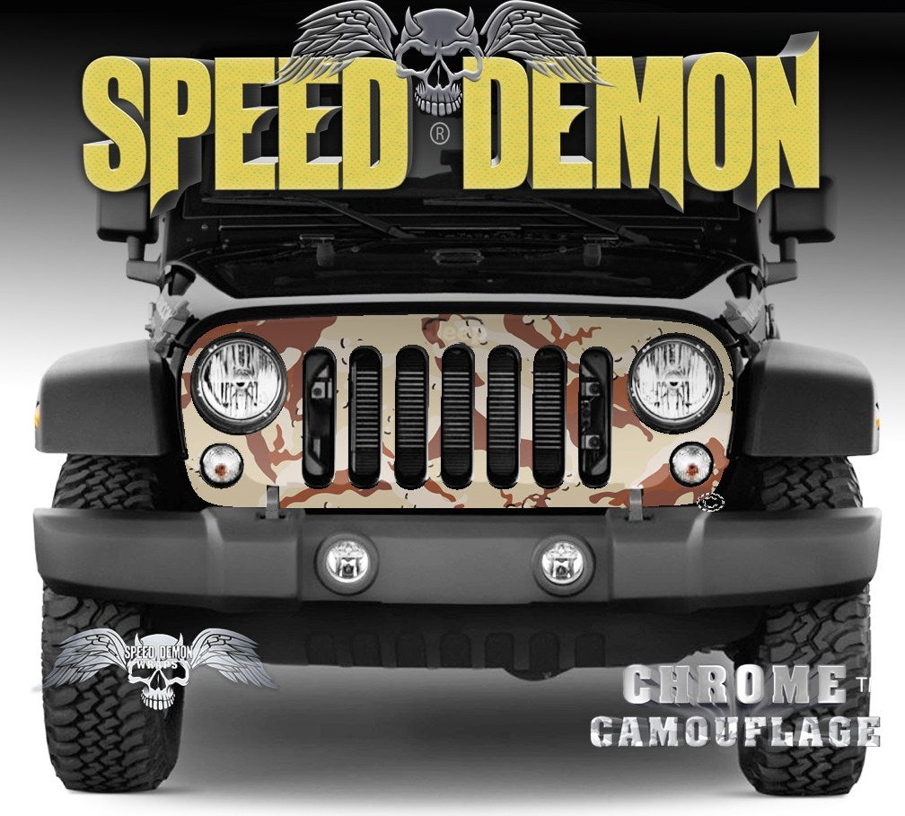 2007-2018 Jeep Grill Wraps Desert Camouflage 2007-2018 JK - Speed Demon Wraps