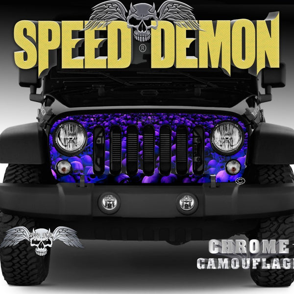 2007-2018 Jeep Grill Wraps Skull Crusher - Speed Demon Wraps